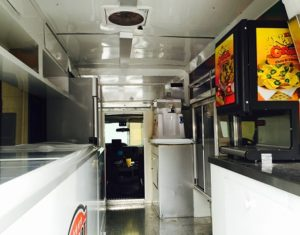 Interior of food truck.