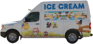 White ice cream truck.